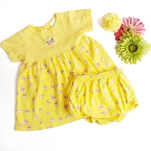 Sweet 2 Piece Yellow Butterfly Dress & Bloomers